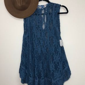 Free People Blue Sheer Lace Tank Tunic Size Small